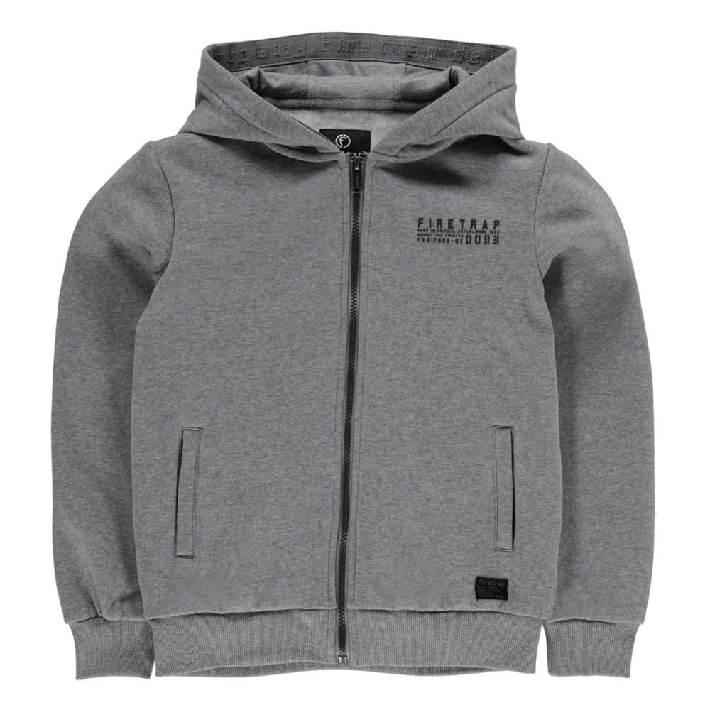 FIRETRAP Boys' Brunel ZT Zip-Up Hoodie - GREY MARL