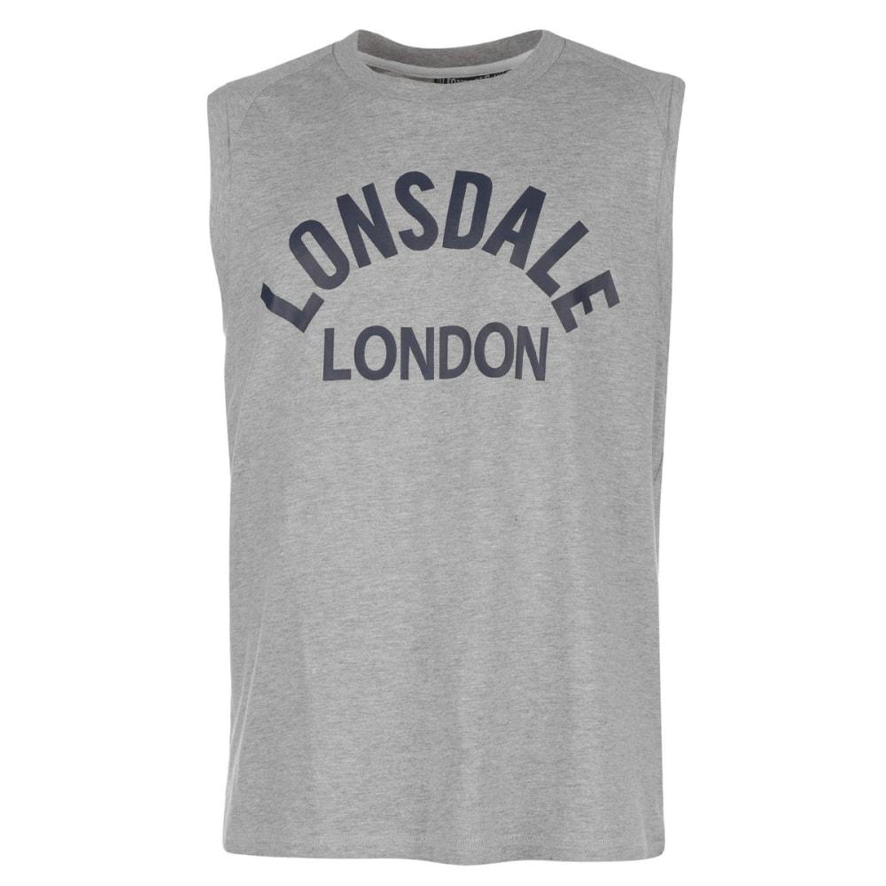 LONSDALE Men's Box Muscle Tank Top - GREY MARL