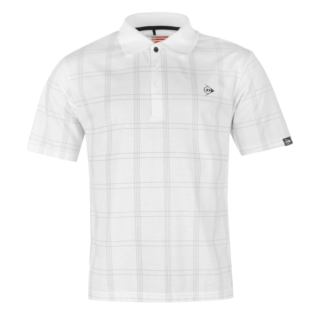 DUNLOP Men's Check Golf Short-Sleeve Polo Shirt - WHITE