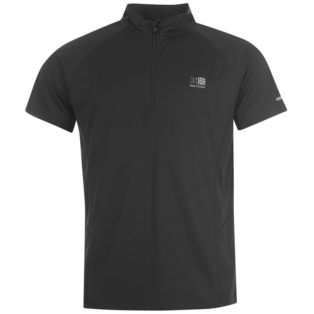 KARRIMOR Men's 1/4 Zip Short-Sleeve Tee - BLACK