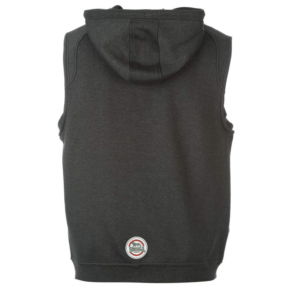 LONSDALE Men's Box Sleeveless Zip-Up Hoodie - Charcoal M