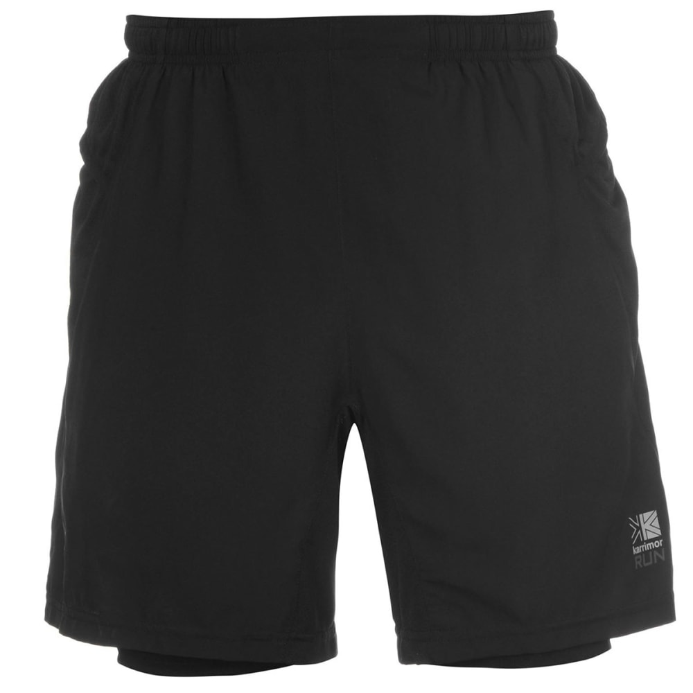 KARRIMOR Men's X 2-in-1 Running Shorts - BLACK/BLACK