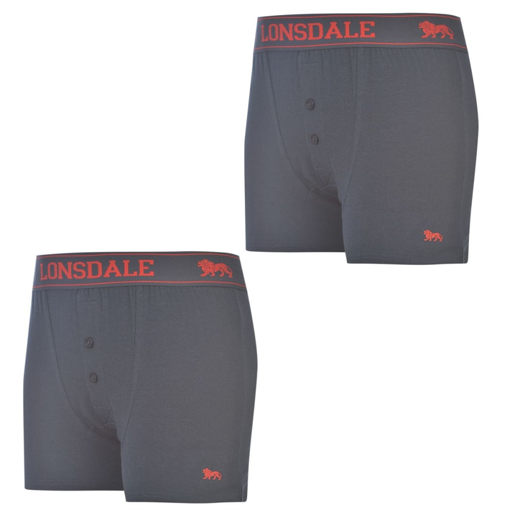 LONSDALE Boys' Boxers, 2-Pack - Navy/Bright Red