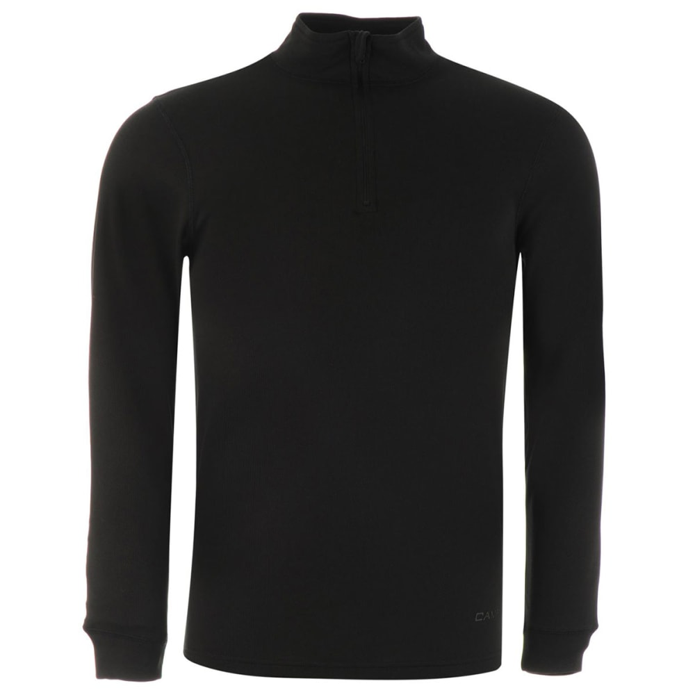 Campri Men's Thermal Quarter-Zip Long-Sleeve Pullover - Black, M