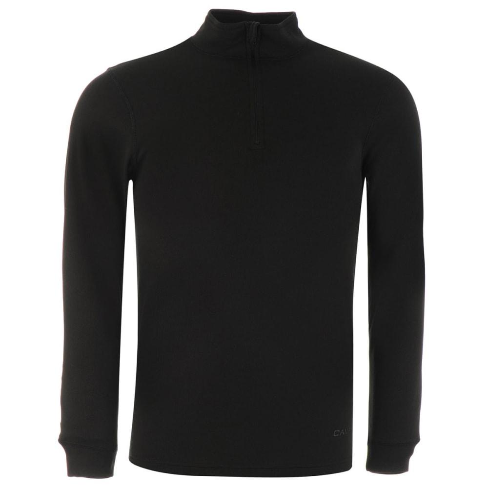 CAMPRI Men's Thermal Quarter-Zip Long-Sleeve Pullover - BLACK