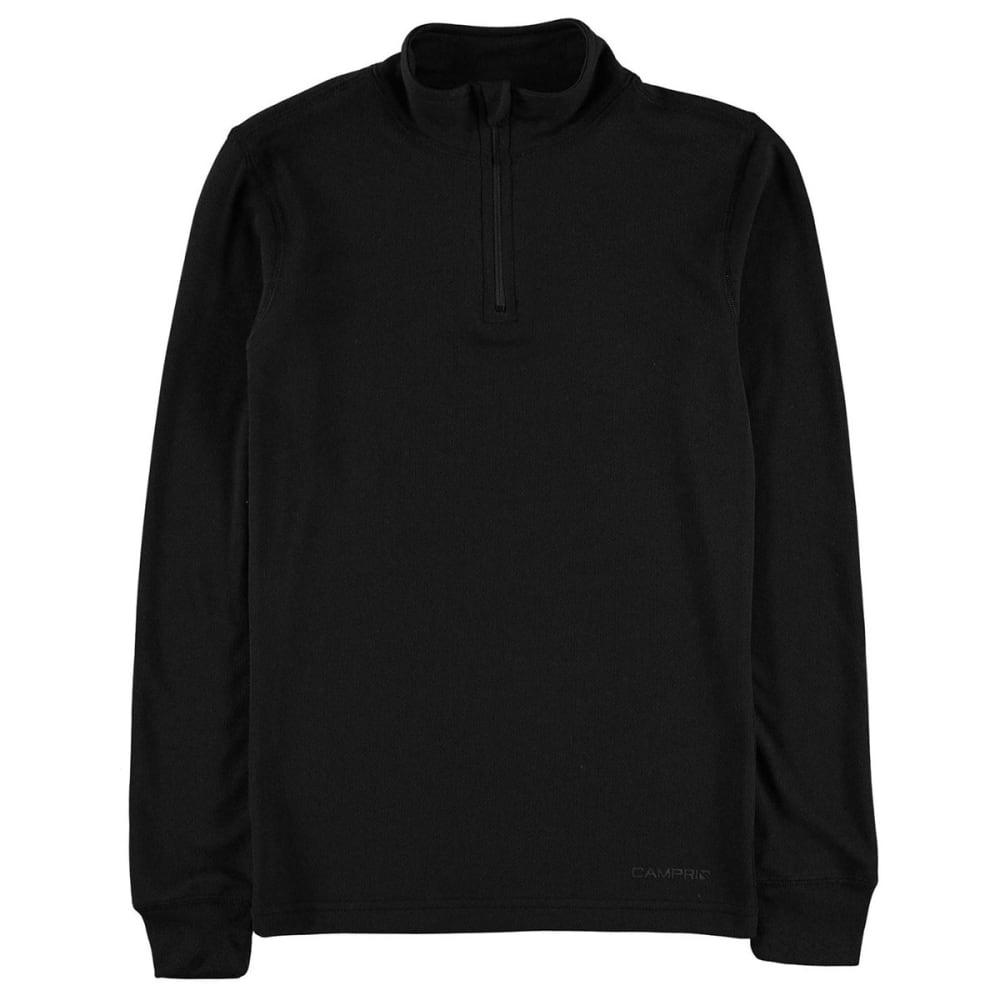 CAMPRI Women's Thermal Quarter-Zip Long-Sleeve Pullover - BLACK