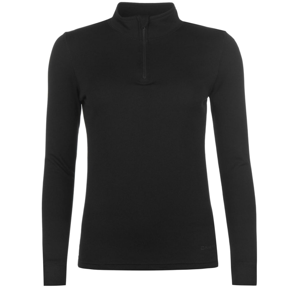 CAMPRI Women's Thermal Base Layer Zippered Long-Sleeve Top - BLACK