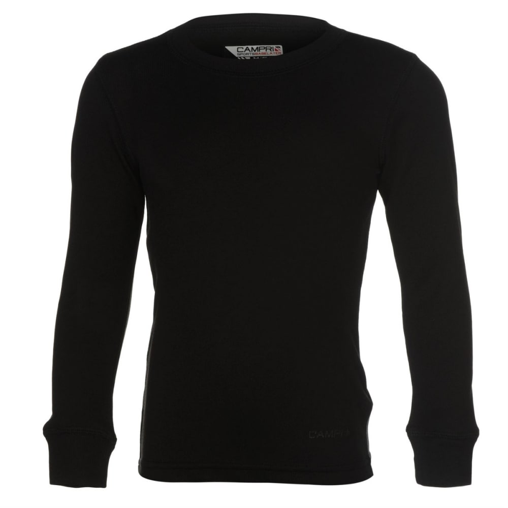 Campri Boys' Thermal Base Layer Top - Black, 2/3