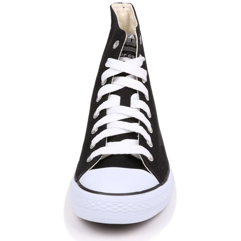 DUNLOP Men's Canvas High-Top Sneakers, Black - BLACK