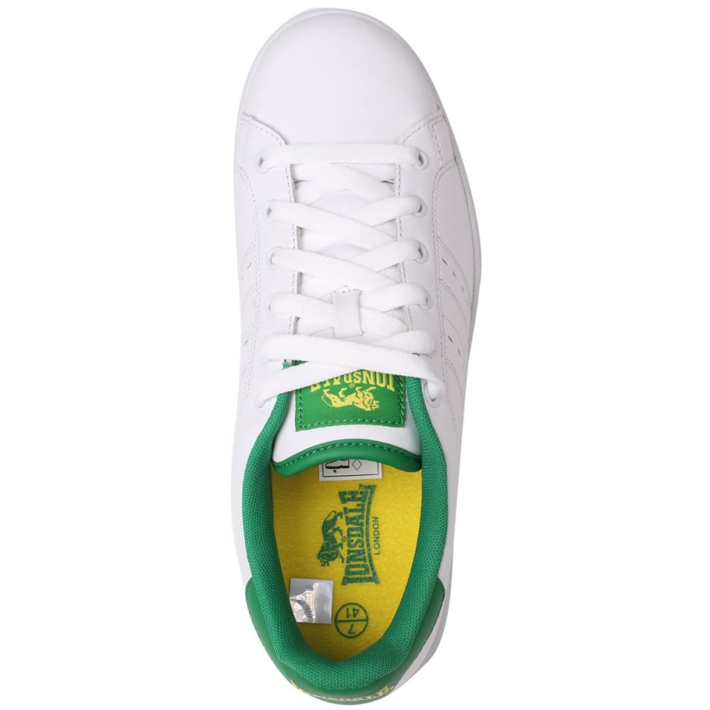 LONSDALE Men's Leyton Leather Sneakers - WHITE/GREEN