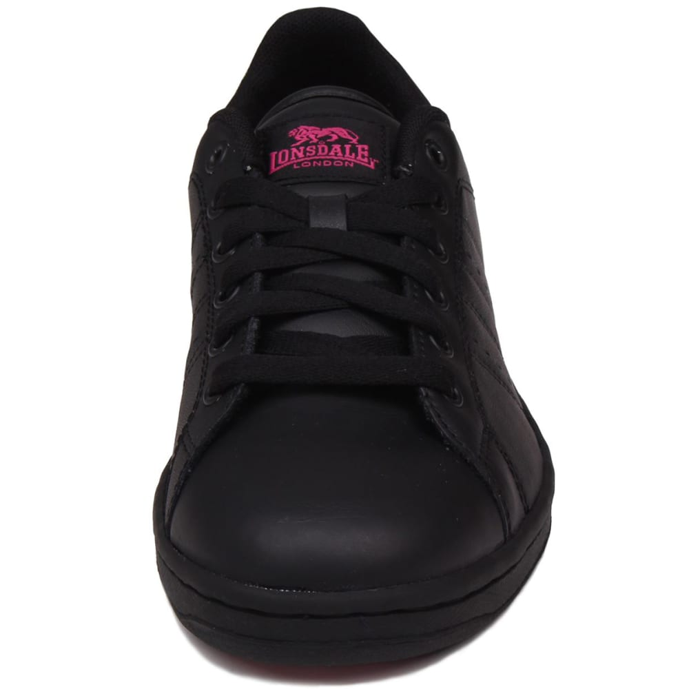 LONSDALE Women's Leyton Leather Sneakers - BLACK/CERISE