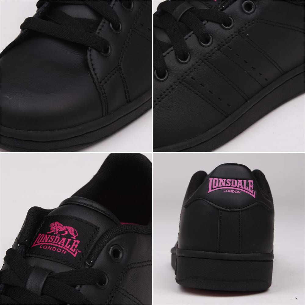 LONSDALE Women's Leyton Leather Sneakers - BLACK/CERISE