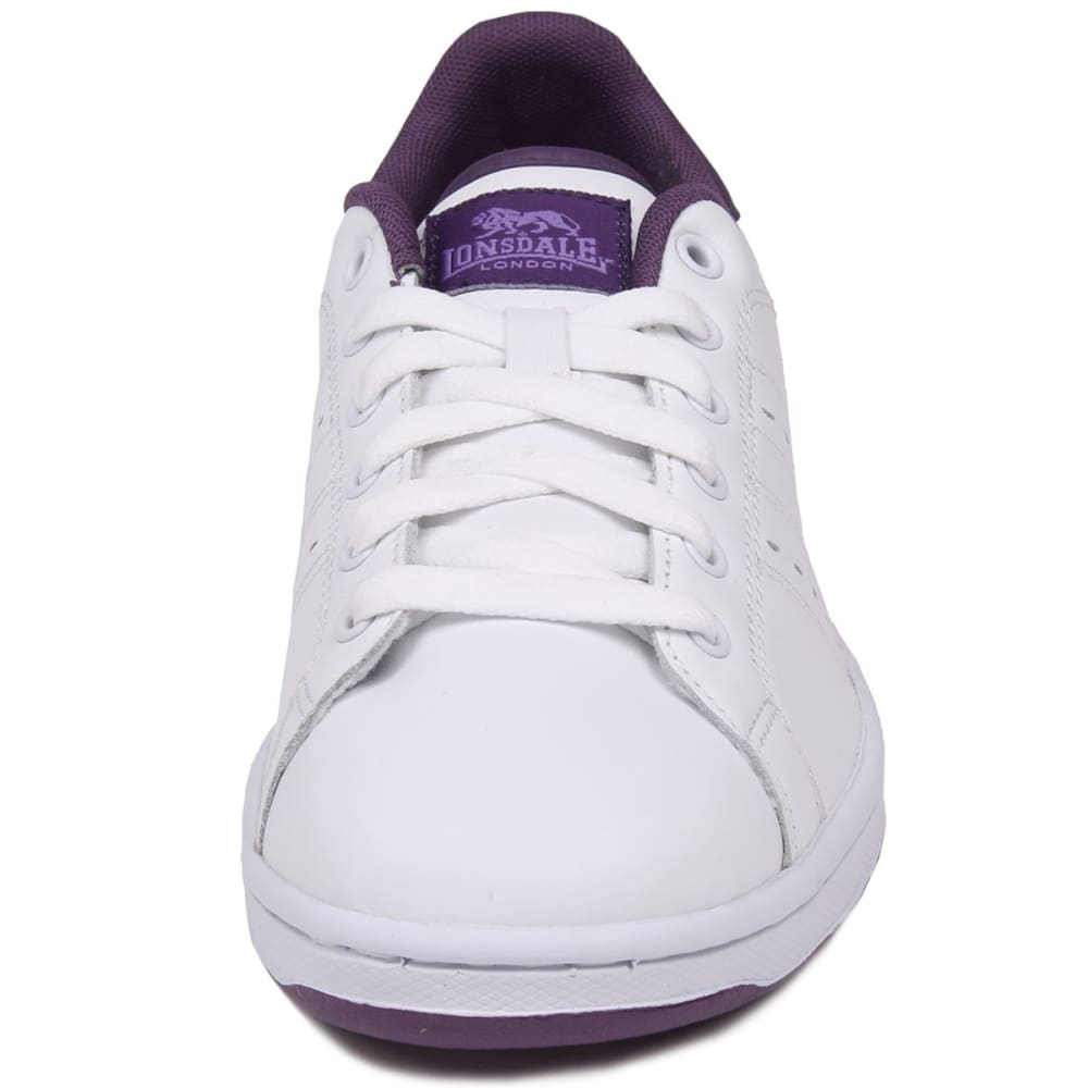 LONSDALE Women's Leyton Leather Sneakers - WHITE/PURPLE