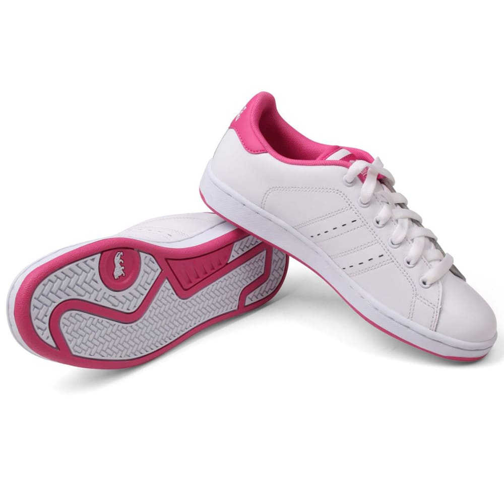 LONSDALE Boys' Leyton Leather Sneakers - WHITE/CERISE