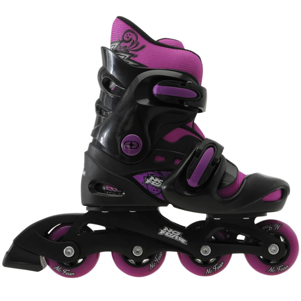 NO FEAR Girls' Inline Skates - BLACK/PURPLE