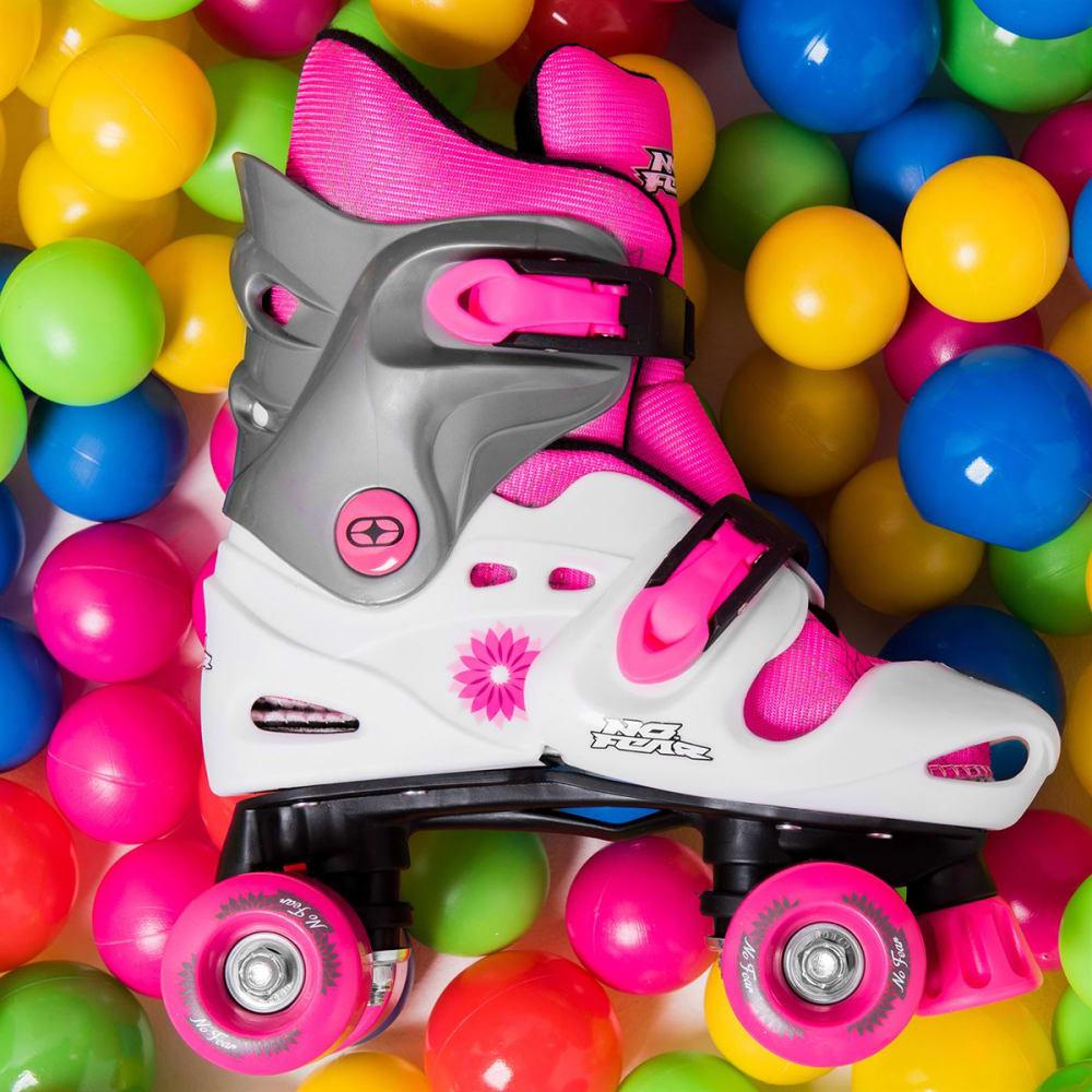 NO FEAR Girls' Quad Roller Skates - WHITE/PINK