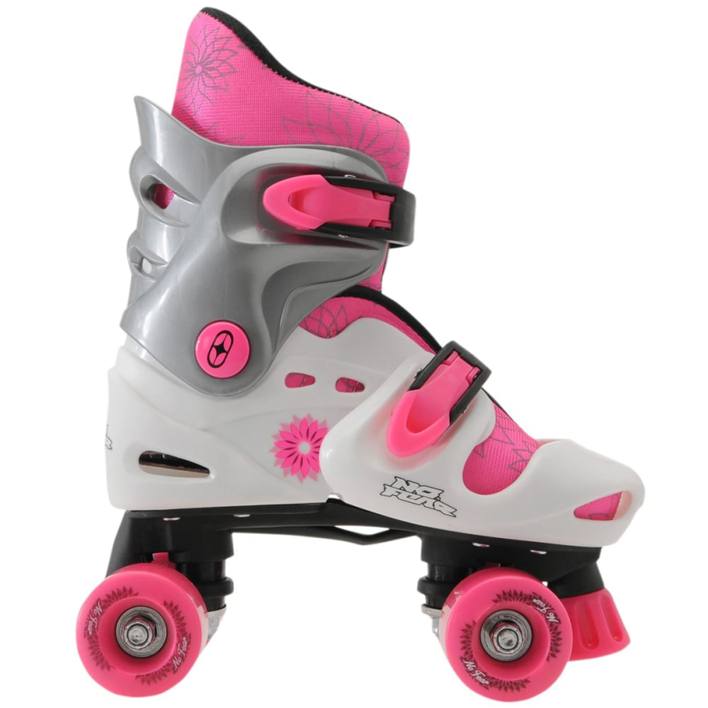 NO FEAR Girls' Quad Roller Skates - WHITE/PINK