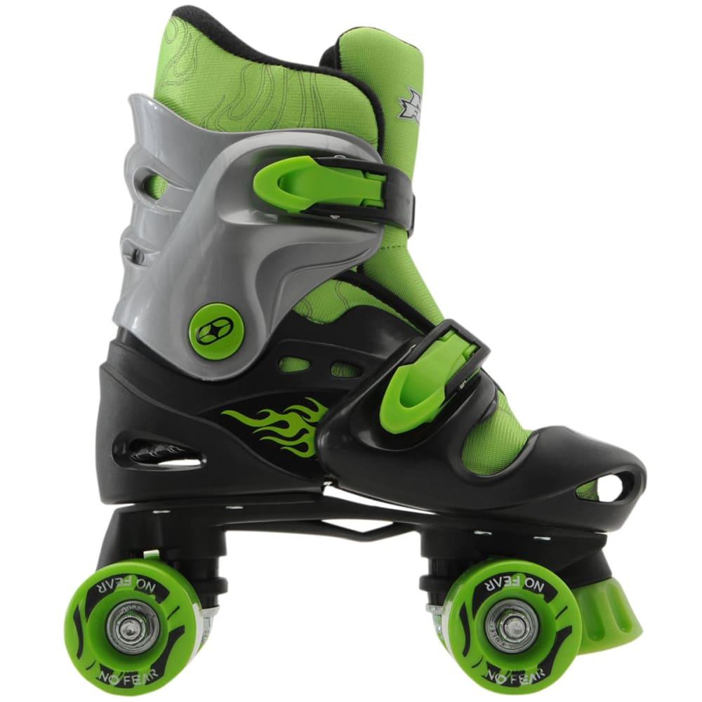 NO FEAR Boys' Quad Roller Skates - BLACK/GREEN