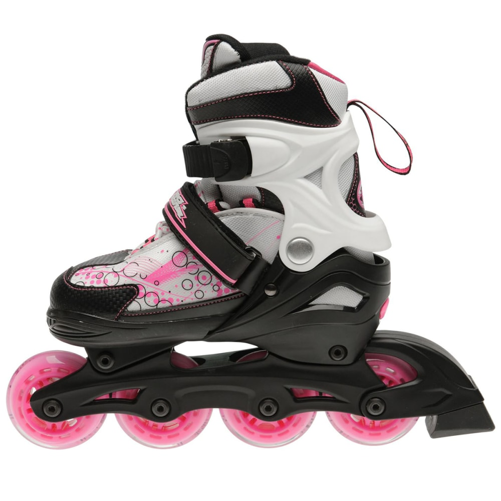 NO FEAR Girls' Spirit In-Line Skates - Black/Wht/Pink