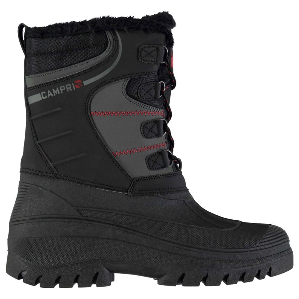 CAMPRI Men's Mid Snow Boots, Black - BLACK