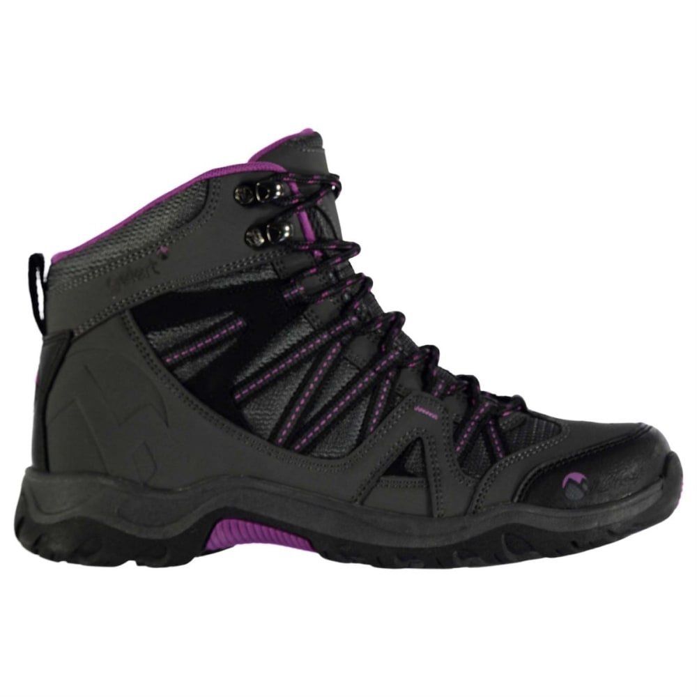 GELERT Women's Ottawa Mid Hiking Boots - CHARCOAL/PURPLE