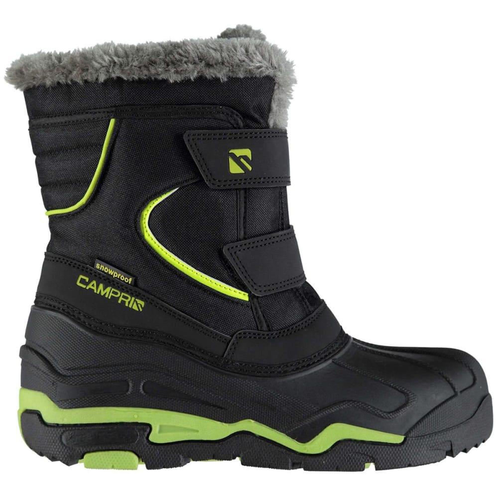 CAMPRI Boys' Mid Snow Boots, Black/Green - BLACK/GREEN