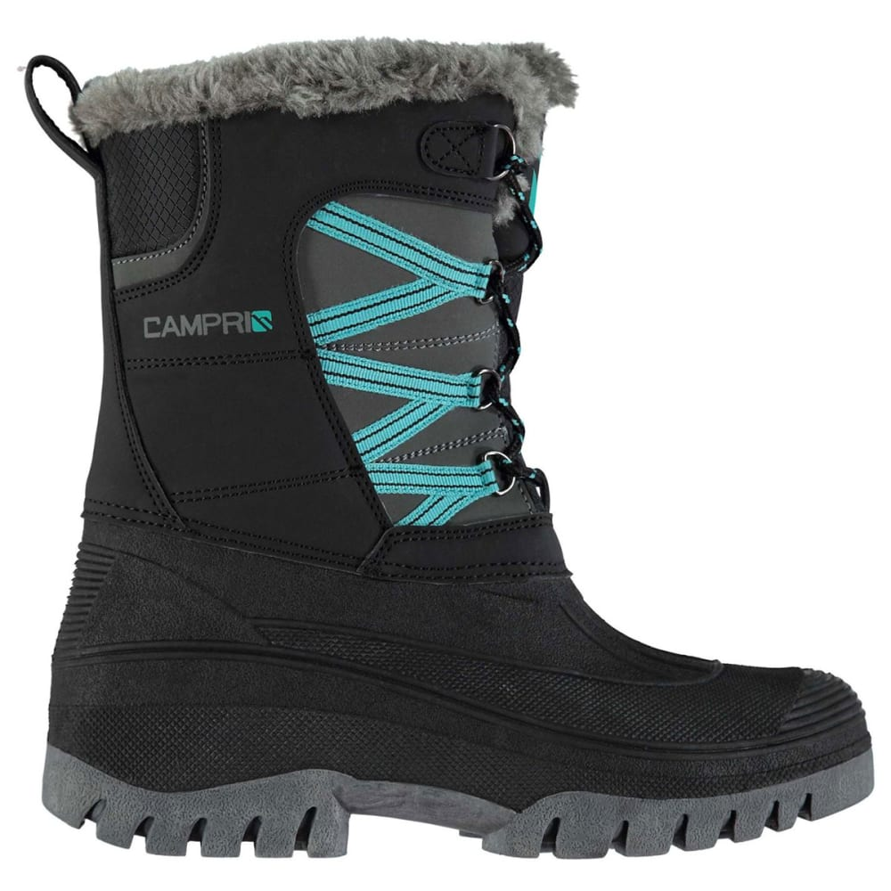 CAMPRI Women's Mid Snow Boots, Black/Teal - BLACK/TEAL