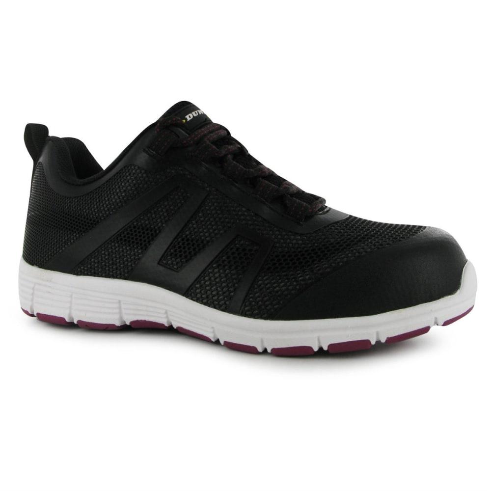 DUNLOP Women's Maine Steel Toe Work Shoes - Black/Fuscia