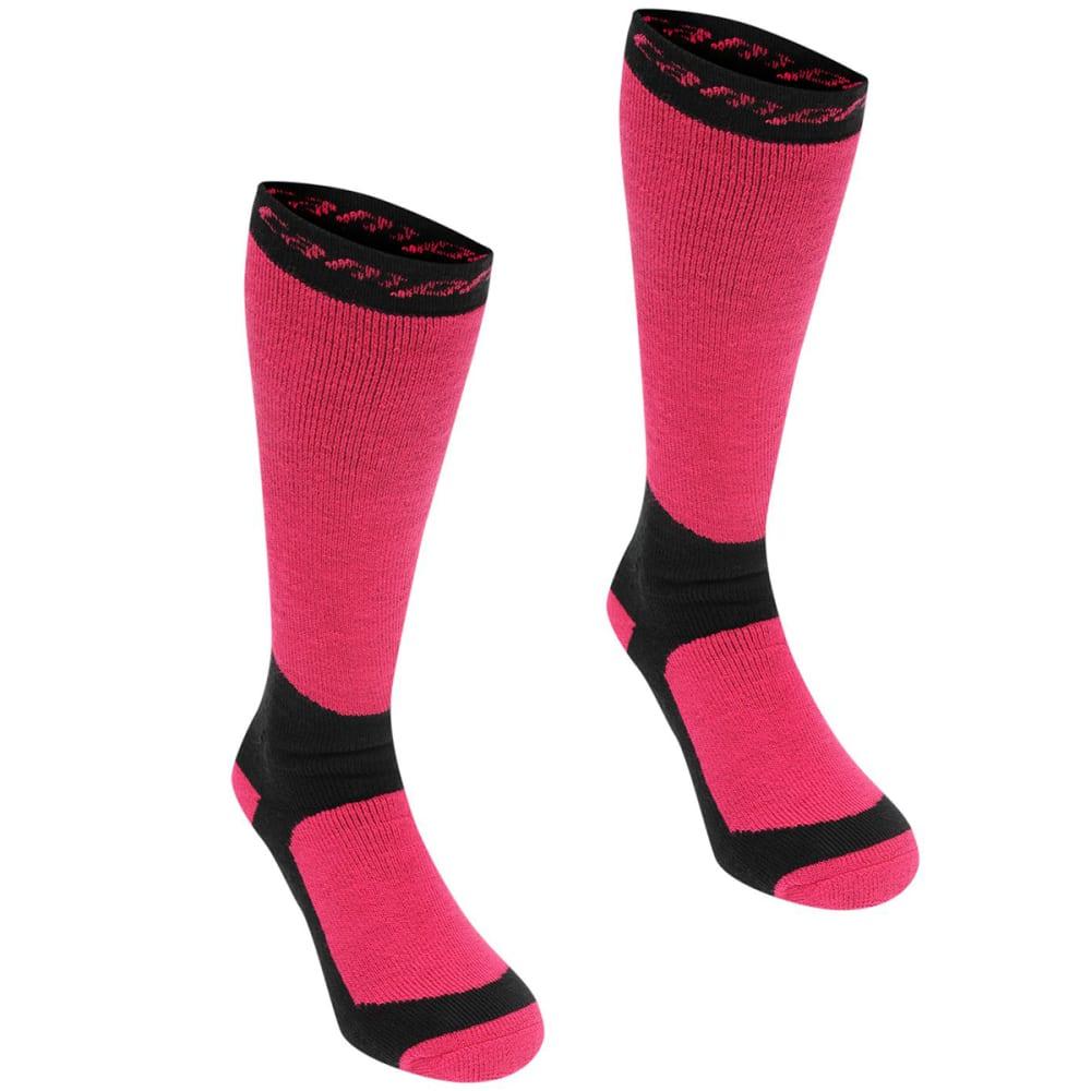 CAMPRI Women's Snow Socks, 2-Pack - Black/Fuschia