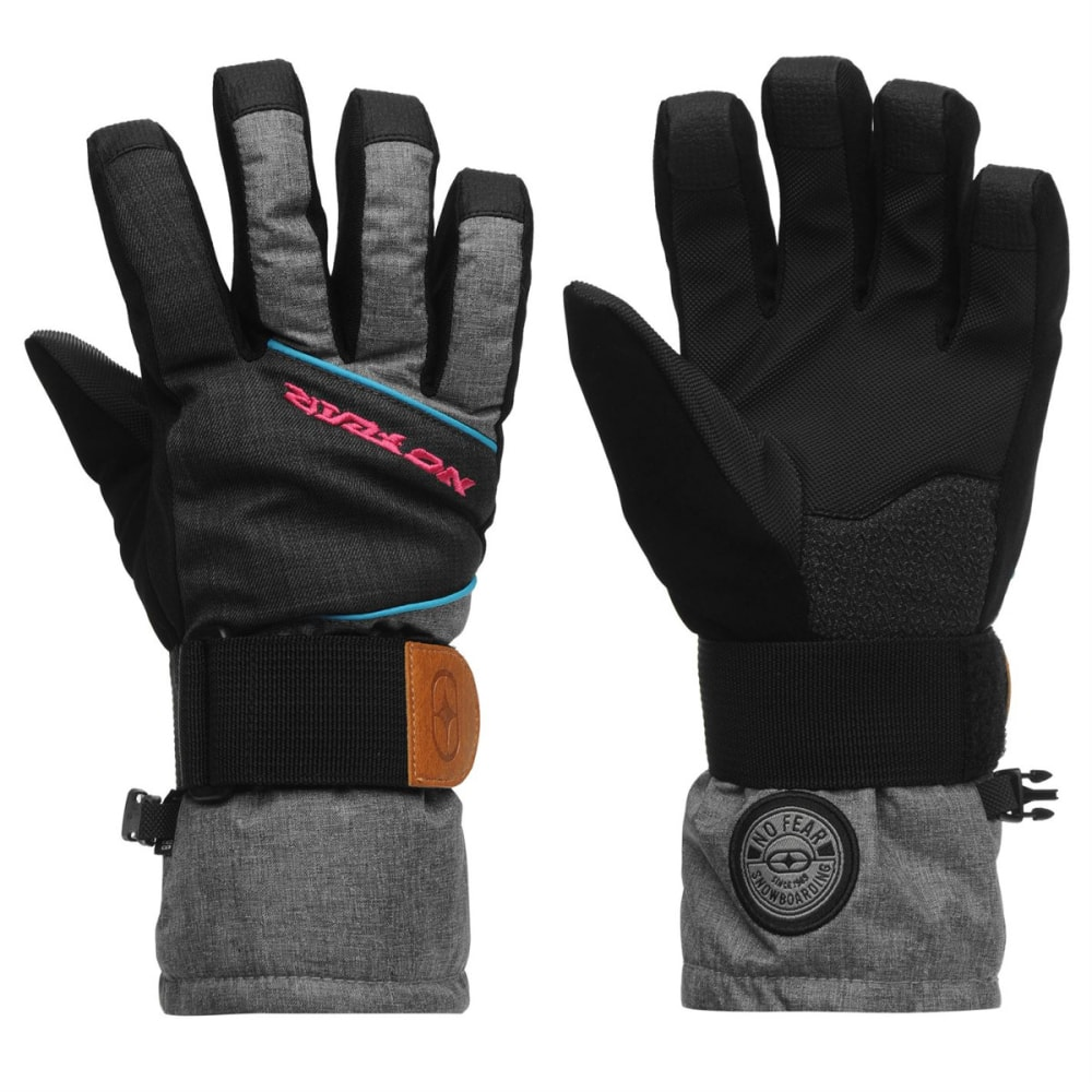 NO FEAR Kids' Boost Ski Gloves - BLACK/PINK