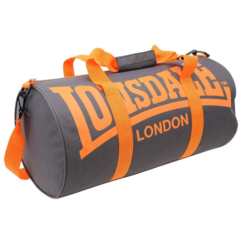LONSDALE Barrel Bag - CHARCOAL/ORANGE
