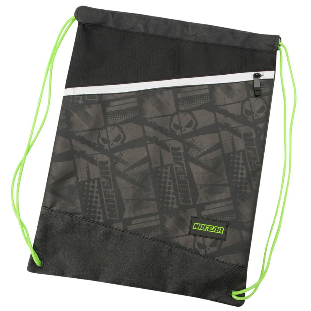 NO FEAR MX Cinch Gym Sack - Black/White/Grn