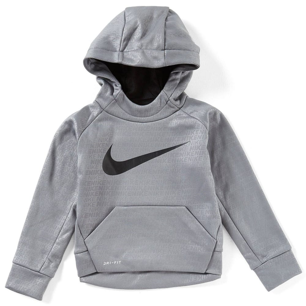 NIKE Little Boys' Therma-FIT Printed Fleece Hoodie - COOL GRY/BLK-K48