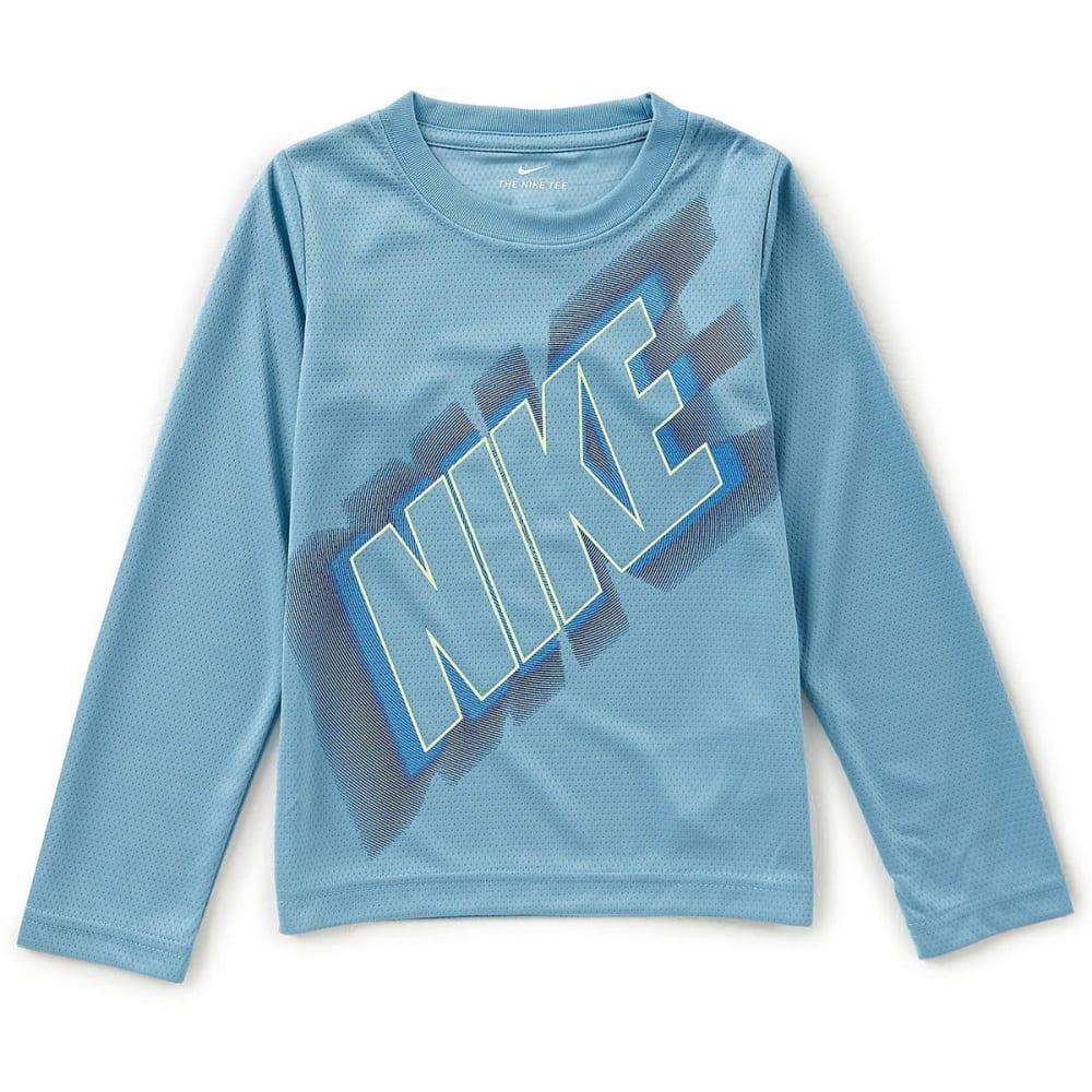 NIKE Little Boys' Dri-FIT Exploding Nike Long-Sleeve Tee - CERULEAN-U3E