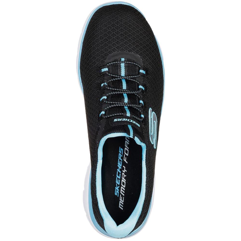 SKECHERS Women's Summits Sneakers, Wide - BLACK/TURQ -BKTQ