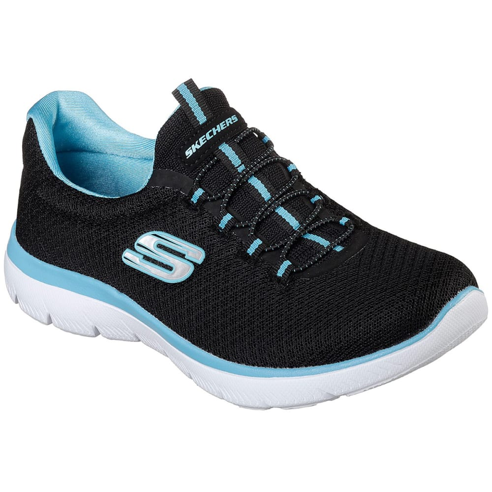 SKECHERS Women's Summits Sneakers, Wide - BLACK/TURQ -BKTQ
