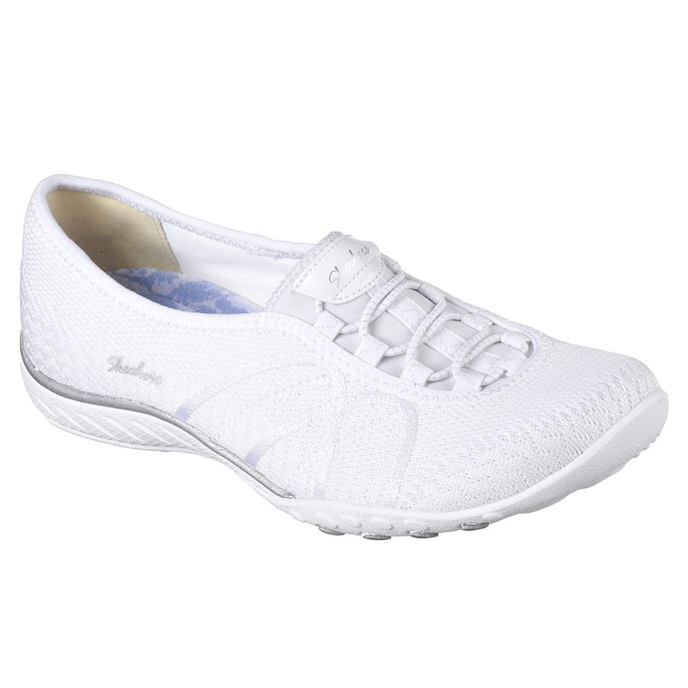 SKECHERS Women's Relaxed Fit: Breathe Easy - Sweet Jam Casual Slip-On Shoes - WHITE-WHT