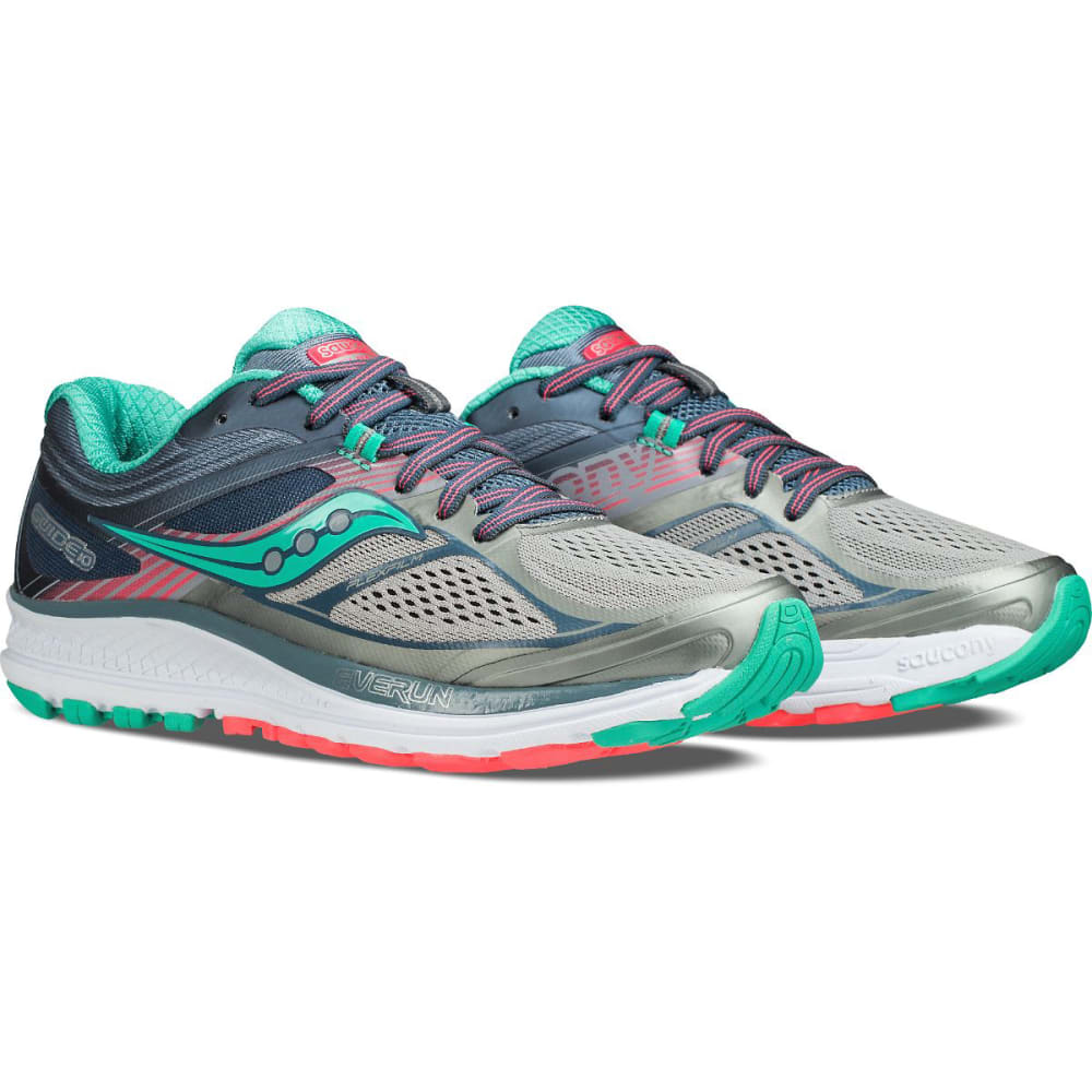 SAUCONY Women's Guide 10 Running Shoes, Grey/Teal - GREY-5