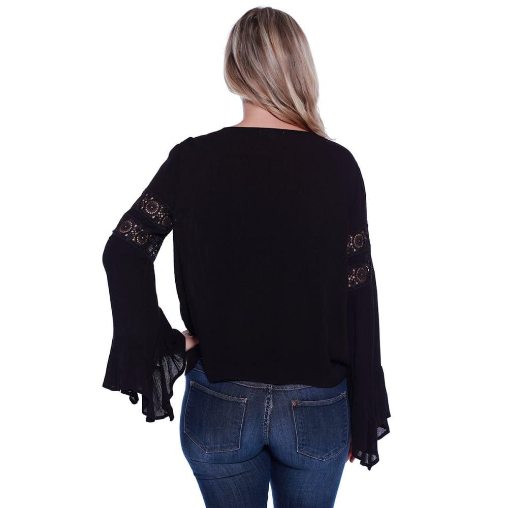 TAYLOR & SAGE Juniors' Bell Sleeve Woven Top - BLK-BLACK