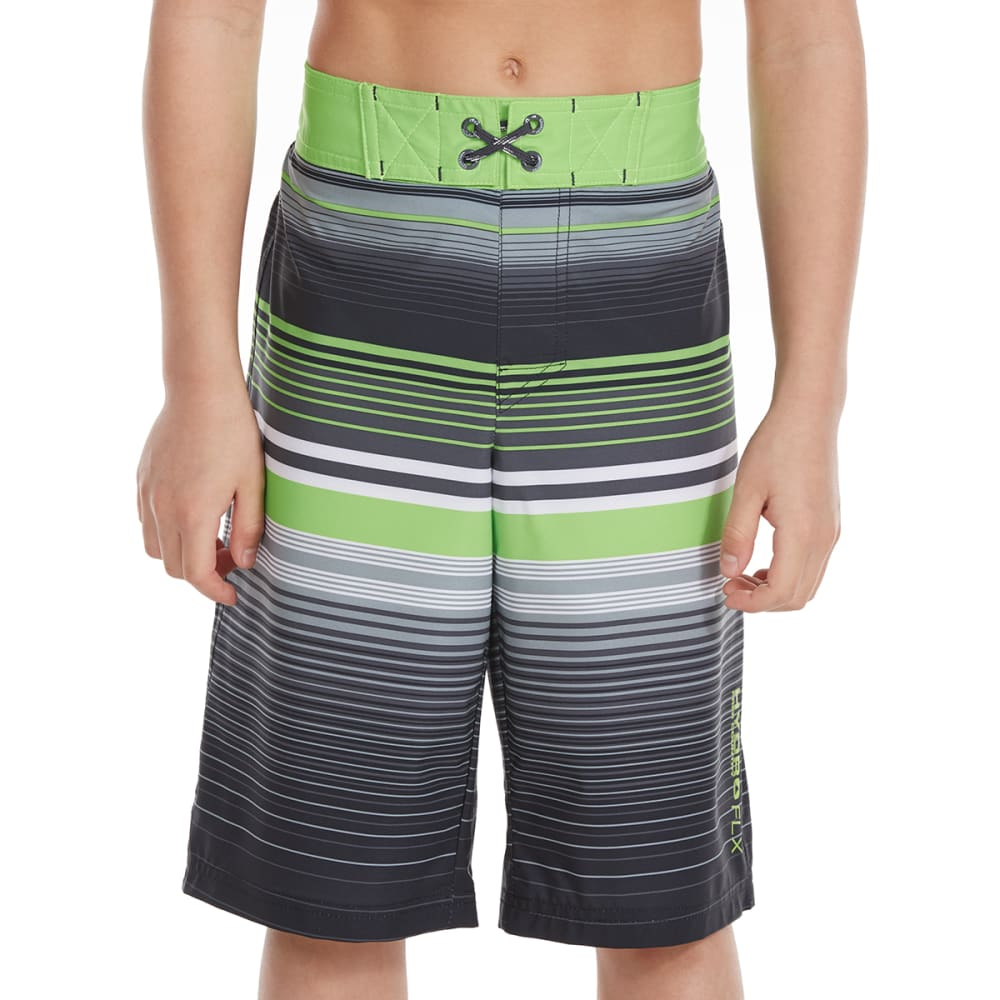 FREE COUNTRY Little Boys' Ripple Effects HydroFLX Boardshorts - LEAFY GREEN