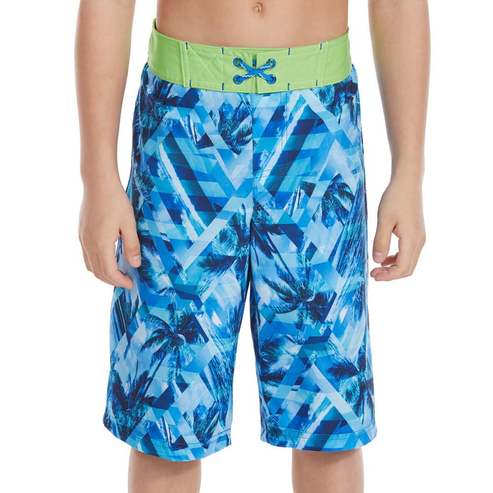 FREE COUNTRY Big Boys' Seaside Prism HydroFLX Boardshorts - NAVY/LEAFY GREEN
