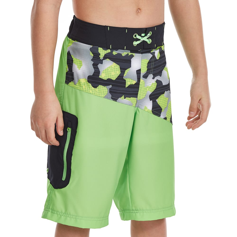 FREE COUNTRY Big Boys' Camo Zone HydroFLX Boardshorts - LEAFY GREEN