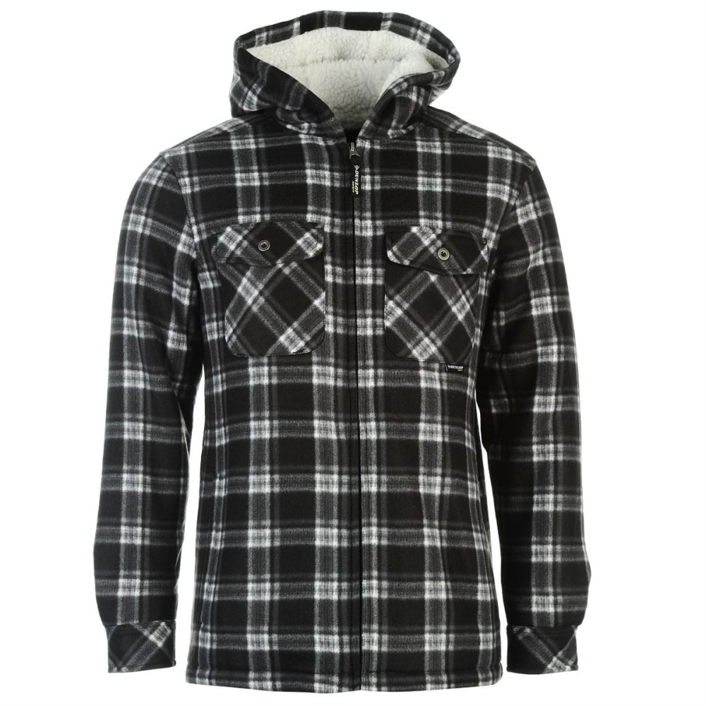 DUNLOP Men's Checkered Full-Zip Hoodie - BLACK