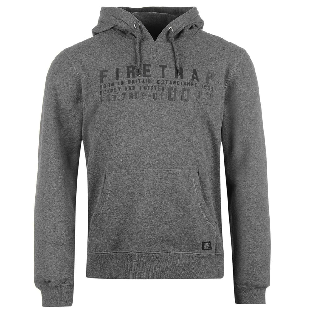 FIRETRAP Men's OTH Graphic Pullover Hoodie - Charcoal Marl