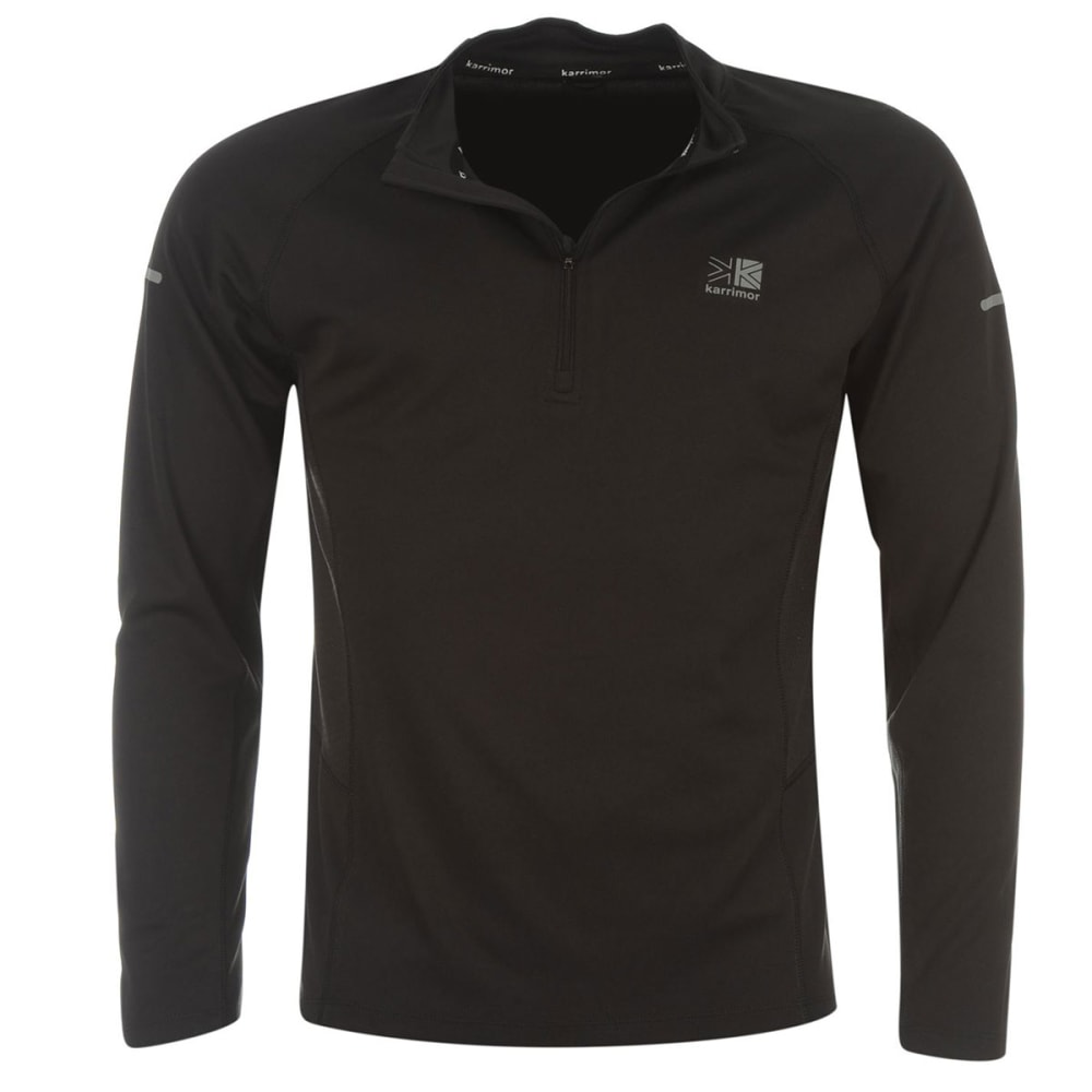 KARRIMOR Men's ¼-Zip Long-Sleeve Running Top - BLACK