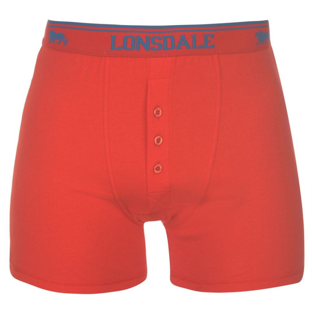 LONSDALE Men's Boxers, 2 Pack - Scarlet/Blue