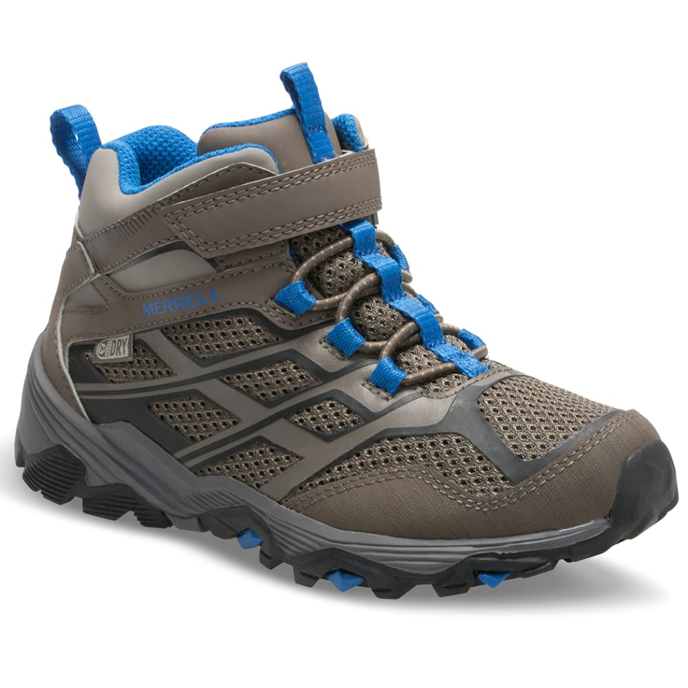 MERRELL Big Kids' Moab Mid Waterproof Hiking Boots - GUNSMOKE