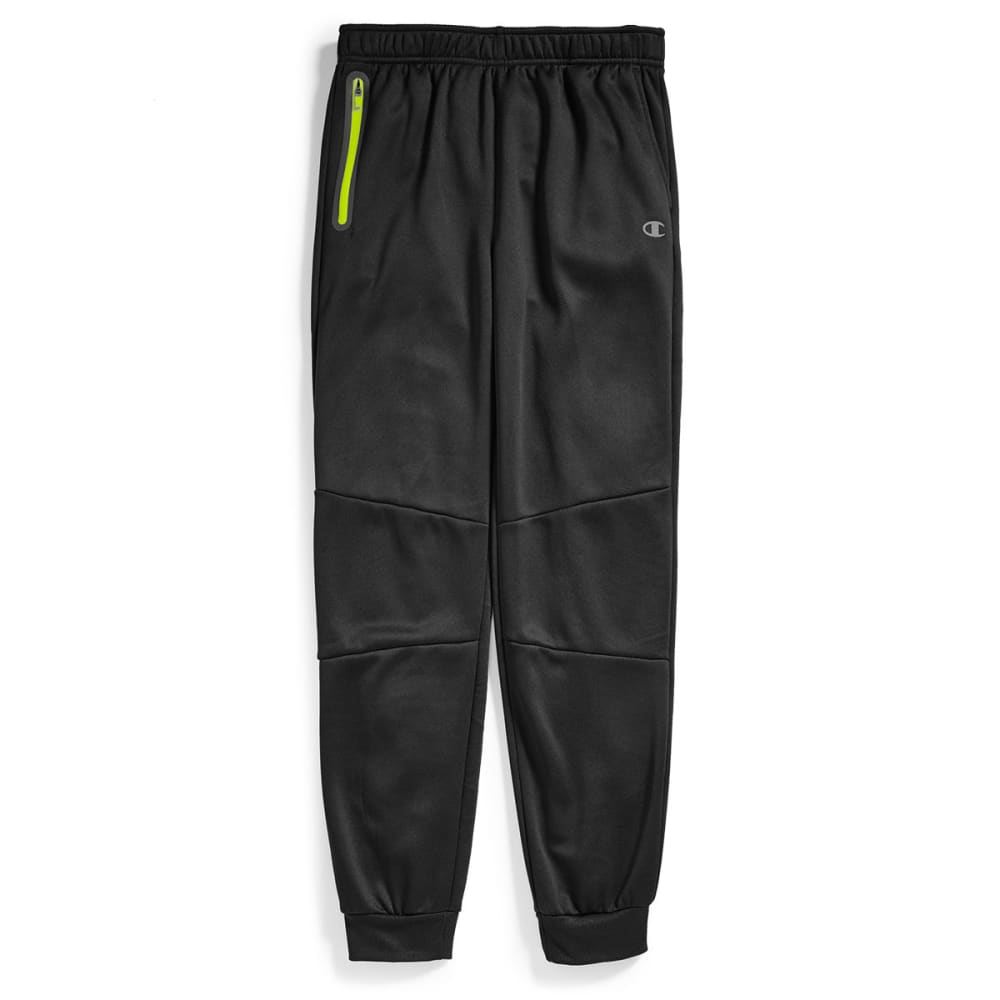 CHAMPION Big Boys' Zip Pocket Jogger Pants - BLACK/NEON SUN