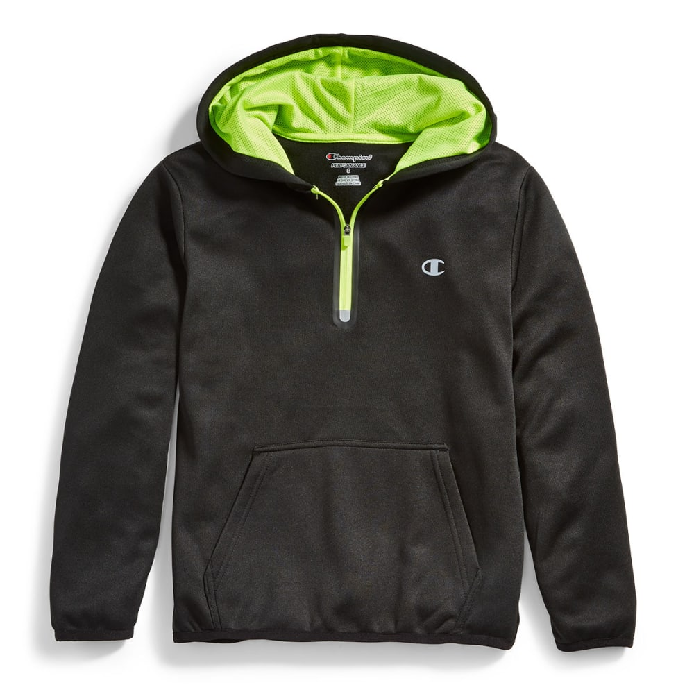 CHAMPION Big Boys' Performance Active Racer Fleece Hoodie - BLACK/NEON SUN