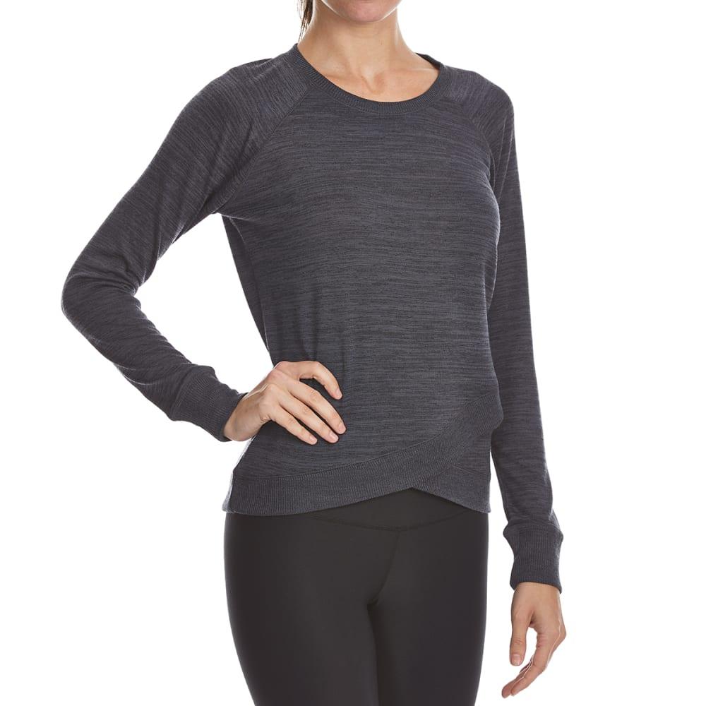 YOGALICIOUS Women's Cross-Bottom Long-Sleeve Top - HEATHER CHARCOAL